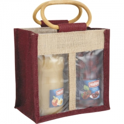 Sac 2 compartiments en jute
